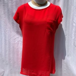 Banana Republic Red Blouse with Keyhole Closure